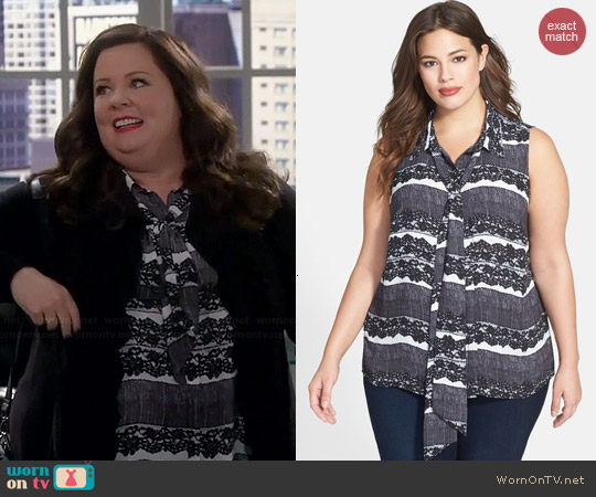 Vince Camuto Neck Tie Blouse worn by Melissa McCarthy on Mike & Molly