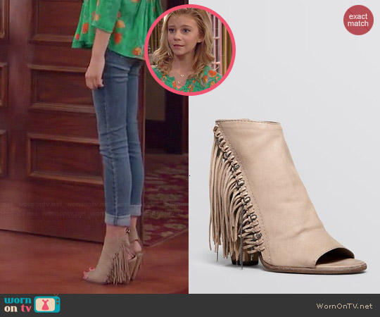 Dolce Vita 'Noralee' Fringe Open Toe Booties worn by Avery Jennings on Dog with a Blog