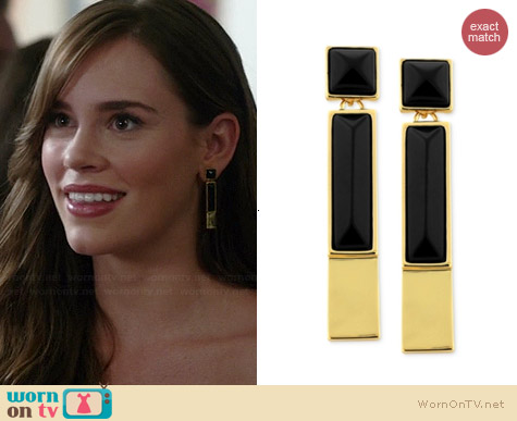 Vince Camuto Gold-Tone Black Onyx Rectangle Linear Drop Earrings worn by Christa Allen on Revenge