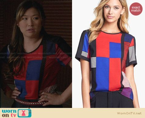 Vince Camuto Patchwork Top worn by Jenna Ushkowitz on Glee