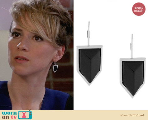 Vince Camuto Semi-Precious Onyx Chevron Earrings worn by Karine Vanasse on Revenge