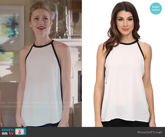 Vince Camuto Sleeveless Back Tie Halter Blouse w/ Solid Trim worn by Johanna Braddy on UnReal