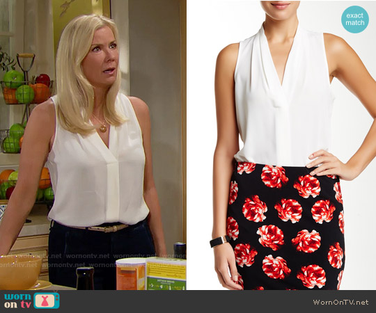 Vince Camuto Sleeveless Pleated V-neck Blouse in Ivory worn by Katherine Kelly Lang on The Bold & the Beautiful