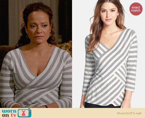 Vince Camuto Tiered Striped Top worn by Judy Reyes on Devious Maids