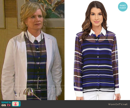 Vince Camuto Zen Stripe Blouse worn by Mary Beth Evans on Days of our Lives