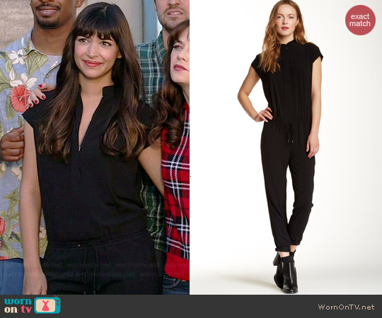 Vince Zip Front Cap Sleeve jumpsuit worn by Hannah Simone on New Girl