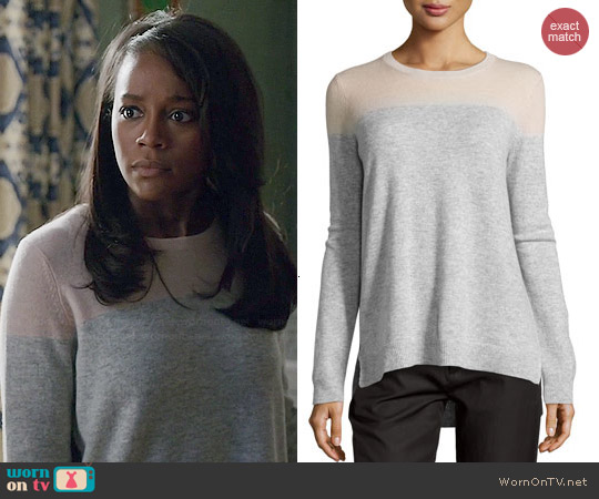 Vince Cashmere Colorblock Sweater in Salmon worn by Aja Naomi King on HTGAWM