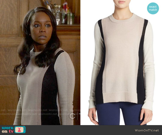 Vince Cashmere Colorblock Sweater worn by Aja Naomi King on HTGAWM