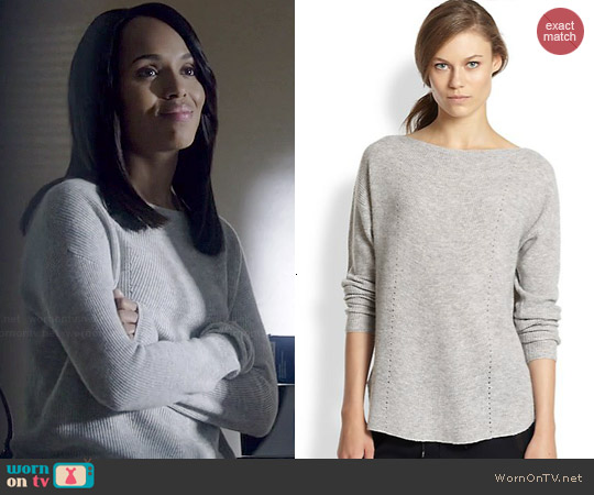 Vince Ribbed Cashmere Relaxed Boatneck Sweater worn by Olivia Pope on Scandal worn by Kerry Washington on Scandal