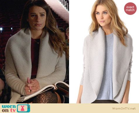 Vince Circle Cardigan worn by Lea Michele on Glee