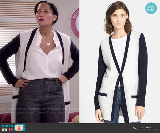 Vince Colorblock Cardigan worn by Tracee Ellis Ross on Blackish