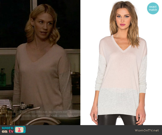 Vince Colorblock Easy Fit V-neck Sweater worn by January Jones on Last Man On Earth