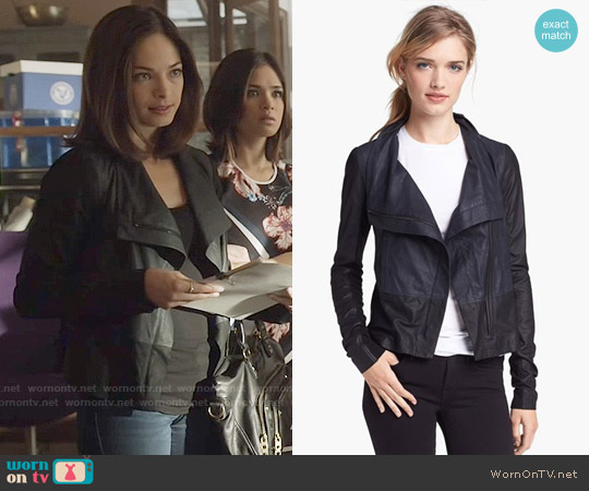 Vince Colorblock Asymmetrical Zip Leather Jacket worn by Kristin Kreuk on Beauty & the Beast