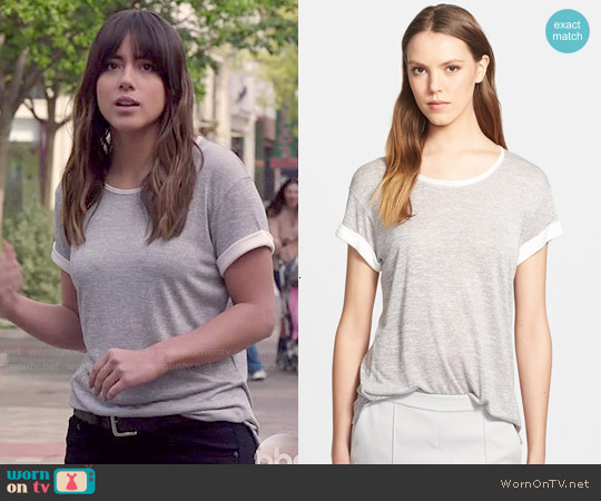 Vince Colorblock Roll Sleeve Tee worn by Chloe Bennet on Agents of SHIELD
