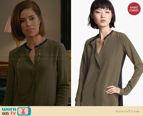 Vince Colorblock Silk Blouse worn by Ana Ortiz on Devious Maids
