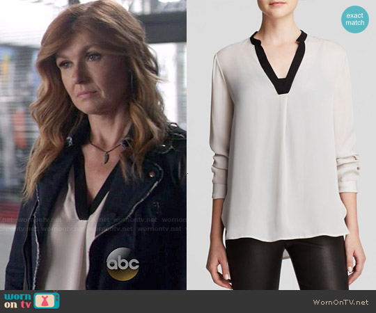 Vince Color Block Silk Blouse in Husk / Black worn by Connie Britton on Nashville