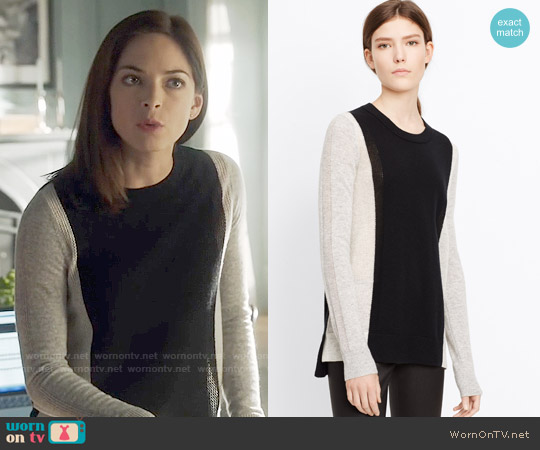 Vince Colorblock Cashmere Crew Neck Sweater worn by Kristin Kreuk on Beauty & the Beast