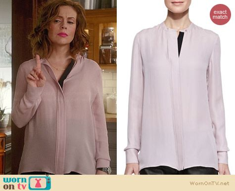 Vince Contrast Placket Silk Blouse worn by Alyssa Milano on Mistresses