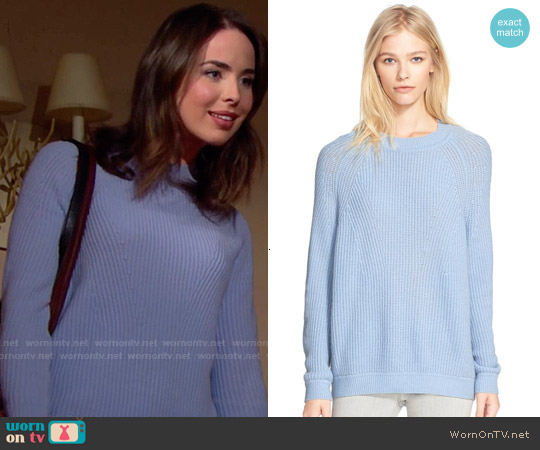 Vince Directional Rib Knit Wool & Cashmere Sweater worn by Ashleigh Brewer on The Bold & the Beautiful