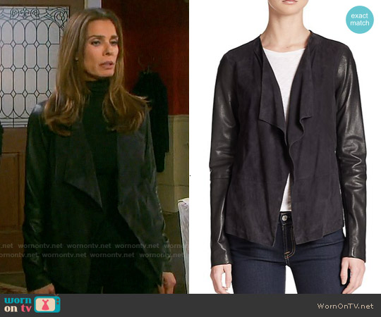 Vince Draped Leather-Detail Knit Jacket worn by Kristian Alfonso on Days of our Lives