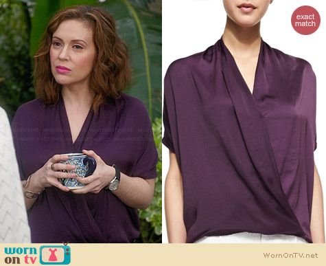 Vince Draped Satin Blouse in Grape worn by Alyssa Milano on Mistresses