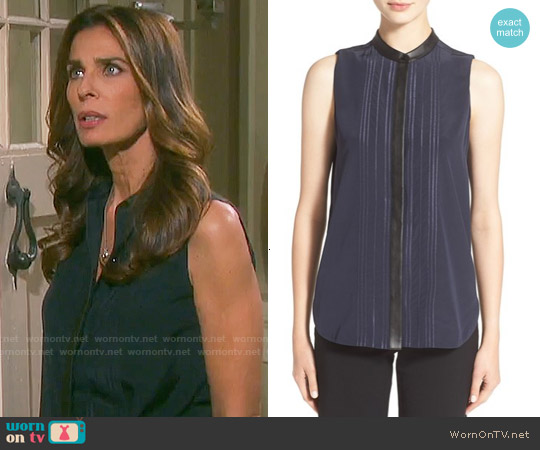 Vince Embroidered Sleeveless Silk Top worn by Kristian Alfonso on Days of our Lives