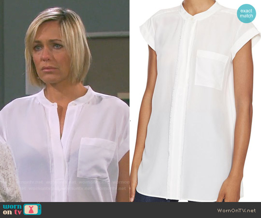 Vince Frayed Placket blouse worn by Arianne Zucker on Days of our Lives