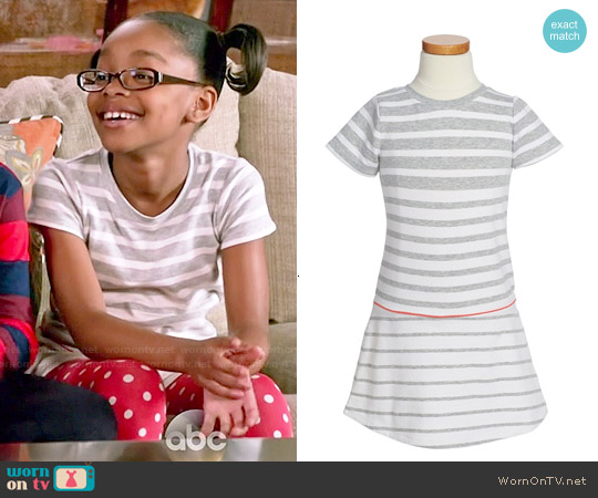 Vince French Terry Short Sleeve Striped Dress worn by Marsai Martin on Blackish