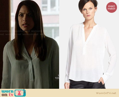 Vince half placket blouse worn by Kristen Kreuk on BATB