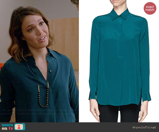 Vince Half Placket Silk Shirt worn by Mandy Moore on Red Band Society