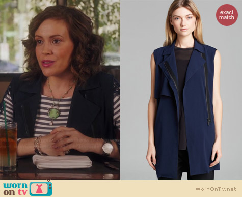 Vince Laser Cut Trench Vest worn by Alyssa Milano on Mistresses