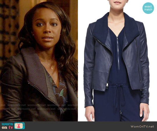 Vince Knit-Collar Leather Jacket worn by Aja Naomi King on HTGAWM