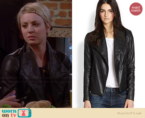 Vince Leather Scuba Jacket worn by Kaley Cuoco on The Big Bang Theory