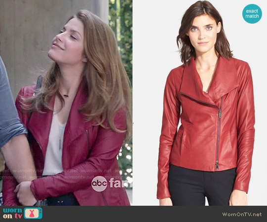 Vince Leather Scuba Jacket worn by Paige Spara on Kevin from Work