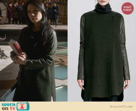 Vince Leather Sleeve Double Face Wool Coat worn by Lucy Liu on Elementary