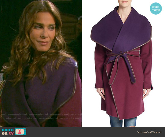 Vince Leather-Trim Double-Face Wrap Coat worn by Kristian Alfonso on Days of our Lives