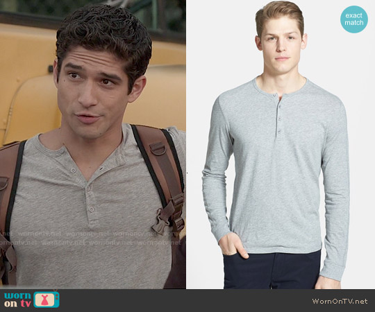 Vince Long Sleeve Knit Henley in Heather Steel worn by Tyler Posey on Teen Wolf