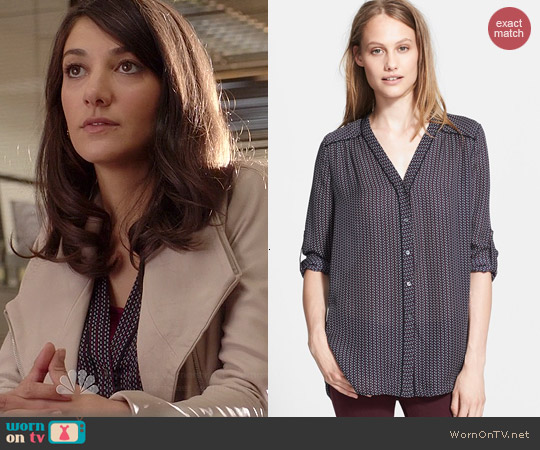Vince Mini Geo Blouse in Coastal worn by Sheila Vand on State of Affairs