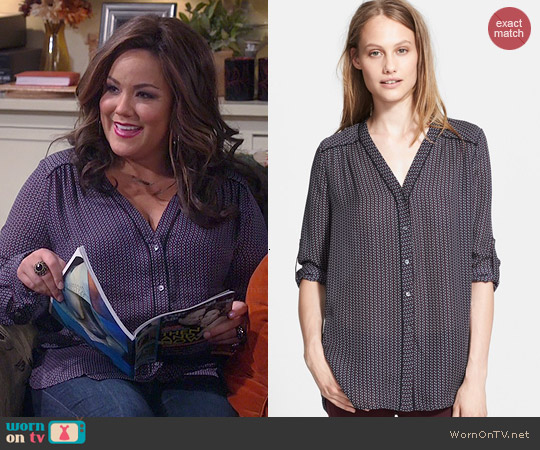 Vince Mini Geo Print Silk Blouse worn by Katy Mixon on Mike & Molly