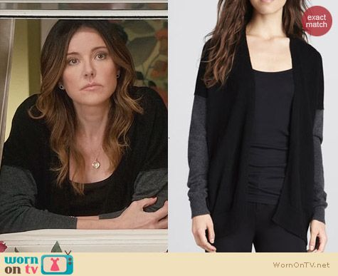 Vince Mix Knit Colorblock Cardigan worn by Christa Miller on Cougar Town