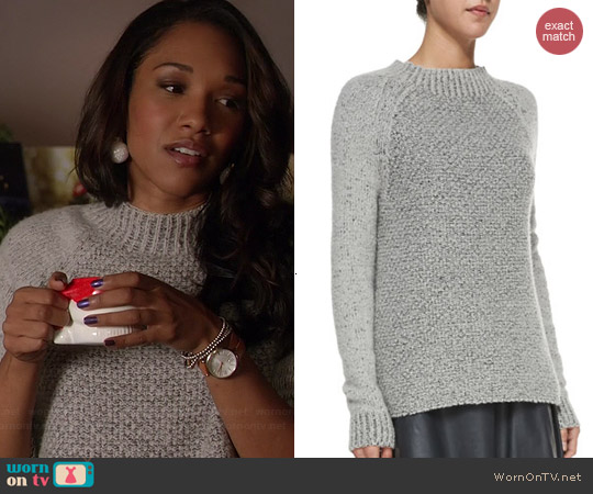Vince Mixed-Knit Mock Neck Sweater worn by Candice Patton on The Flash