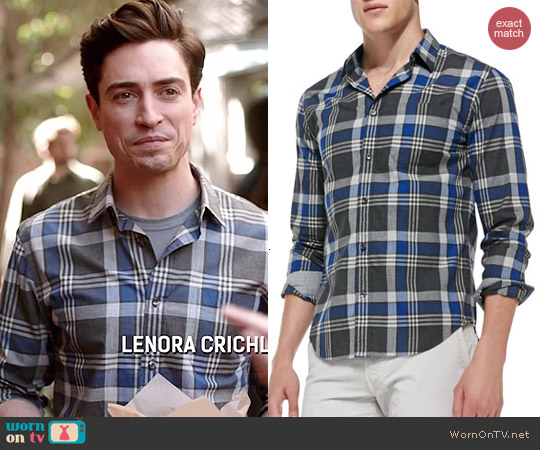 Vince Plaid Poplin Shirt worn by Ben Feldman on A to Z