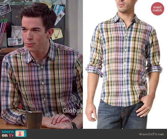 Vince Plaid Sport Shirt in Anise worn by John Mulaney on Mulaney