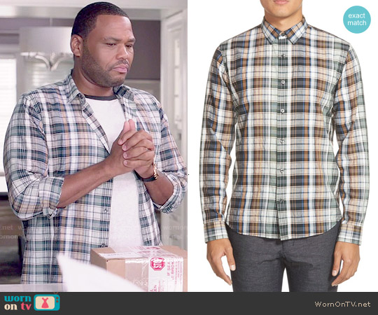 Vince Plaid Sport Shirt in Deep Moss worn by Anthony Anderson on Blackish
