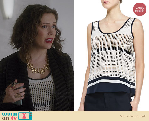 Vince Printed Slit Hem Tank worn by Alyssa Milano on Mistresses