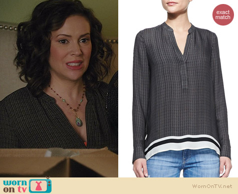 Vince Printed Split Neck Top worn by Alyssa Milano on Mistresses