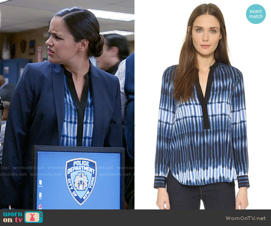 Vince Printed Tie Dye Blouse worn by Melissa Fumero on Brooklyn Nine-Nine