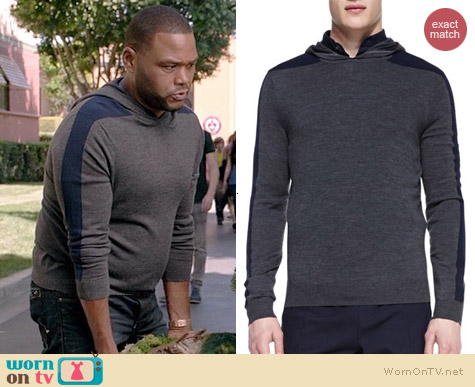 Vince Racing-Stripe Hooded Pullover worn by Anthony Anderson on Black-ish