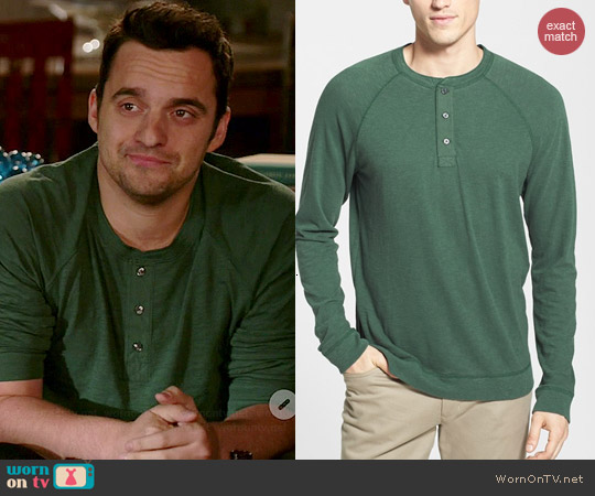 Vince Raglan Henley in Cilantro worn by Jake Johnson on New Girl