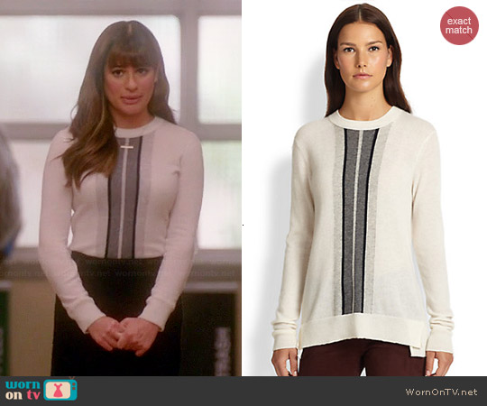 Vince Regimental Stripe Sweater in Winter White worn by Lea Michele on Glee